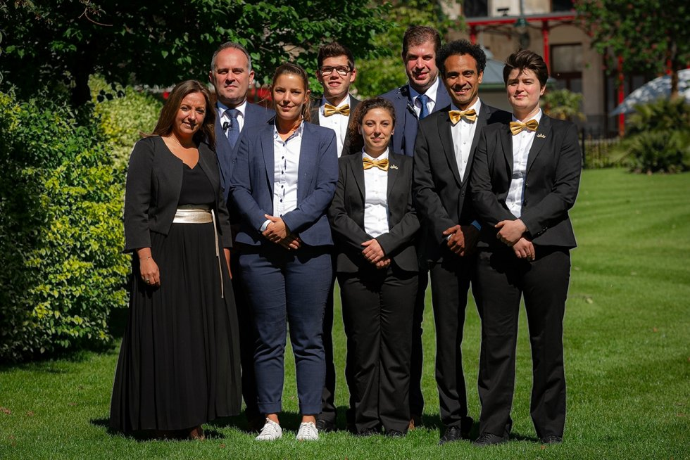 Our banqueting team from left to right: Tinne, Mike, Saskia, Jordy, Eva, Remi, Carlos, Lise